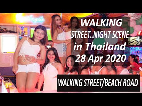 Thailand Pattaya: 28 Apr 2020 Night Scene Strolling Street   Pattaya Coastline Street  Pattaya 2nd Street Tour