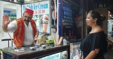 Turkish icecream man within the Strolling Freeway in Pattaya beach( Thiland)
