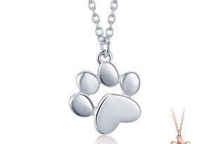 BAMOER HOT SALE Silver & Gold Color Cute Animal Footprints Dog Cat Footprints Paw Necklaces Pendants Women Silver Jewelry SCN275