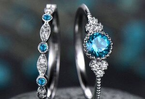 2019 New Crystal Designer 925 Sterling Silver Ring 2 Pc/set 2 In 1 AAA Zircon Party Anniversary Vintage Rings for Women Jewelry