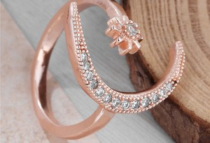 Fashion Ring Moon Star Open Finger Adjustable Rings Women Girls Rhinestone Crystal Bride Jewelry Ring Wedding Engagement Jewelry