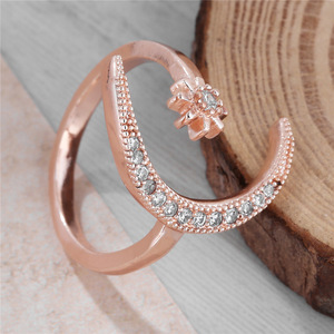 Fashion Ring Moon Star Open Finger Adjustable Rings Women Girls Rhinestone Crystal Bride Jewelry Ring Wedding Engagement Jewelry