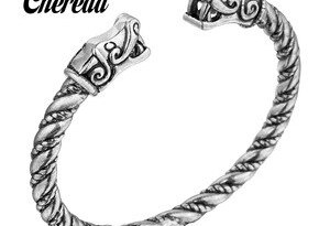 Chereda Twist Shape Bangle Snake Head Metal Slavic Viking Bangles Handmade Bracelets Men Jewelry Birthday Gift