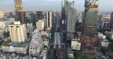 West Sathorn CBD Sunset Aerial by VTC Drone [Bangkok, Thailand]