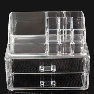 Cosmetic Organizer Acrylic Two Layer Drawer Makeup Storage Holder Box for makeup Cosmetic Jewelry Transparent Makeup Tool Kit