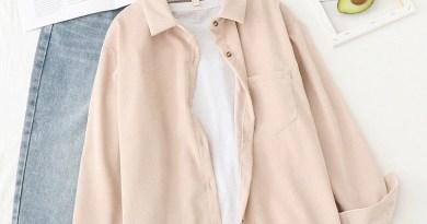 Вельветовые рубашки, Женские топы и блузки с длинным рукавом, Весенняя женская однотонная Свободная рубашка в стиле бойфренда