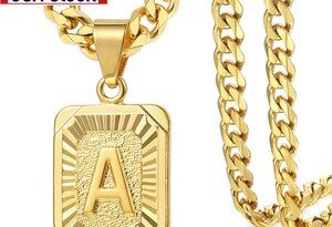Initial letter Pendant a b c Charm Gold Necklace for Women Men Cuban Link Chain Dropshipping GPM05C