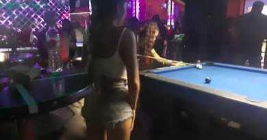 Sexy Girls americans play snooker advert Ibar Walking Street Pattaya Thailand October 25, 2020