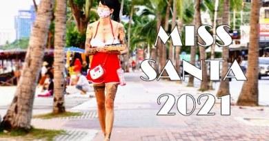 Woman Santa 2021 on the Beach. Pattaya, Thailand