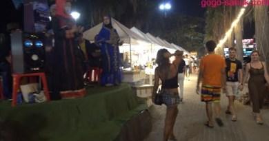 Food stalls on Seashore Avenue, Pattaya, Thailand, February 2020.