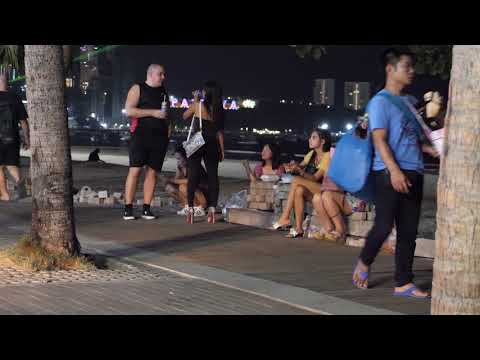 Pattaya Sea wander Road   Night Scenes