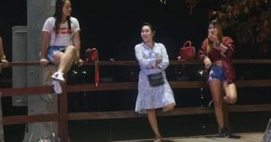 Pattaya Nightlife Walking aspect road Crimson light  in Thailand ,pattya sizzling girls sign