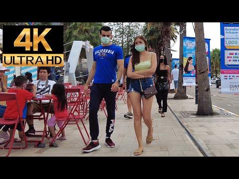 Pattaya 4K Drag  SongkranDay Sea trek boulevard is burly of oldsters. 2021 Apr 12th.