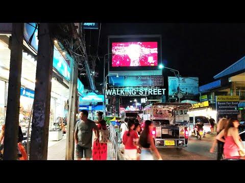 Thailand Pattaya Nightlife, Walking in the Pattaya Street, Evening Scenes, Street Food, Pattaya Mall.