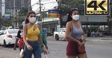 Pattaya Day Scenes: Seaside Road in Jomtien / Pattaya is alive. Thailand 4k TH