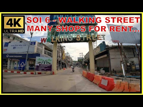 Soi 6 and Strolling Motorway and a total lot of outlets for rent October Pattaya Thailand 4K Ultra HD