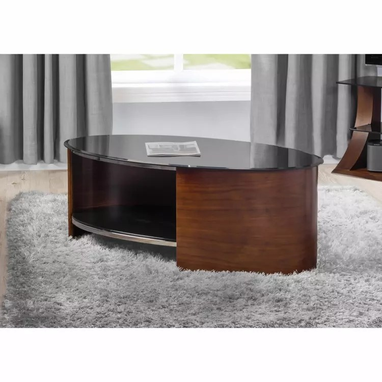 black glass top oval coffee table with open shelf in oak or walnut finish san marino colours options walnut