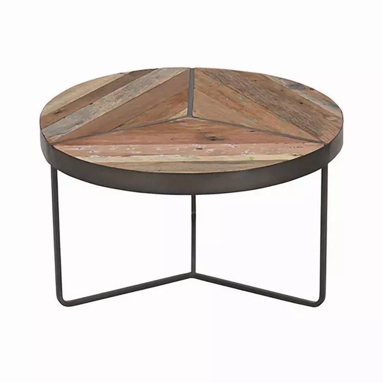 recycled boatwood round rustic coffee table small
