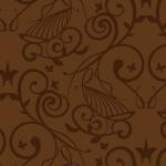 ブラウンベースの洋風壁紙のようなシームレスパターン