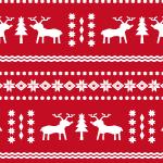 トナカイと雪の結晶が散らばるノルディック柄パターン