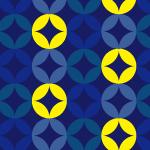紺の中に黄色の交じる七宝文のパターン
