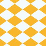 オレンジと白の菱形が並ぶパターン