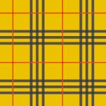 黄色ベースに赤と黒のラインが走るタータンチェック柄パターン