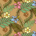 茶色ベースの植物の手描きイラストパターン