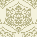 薄いゴールドのダマスク柄パターン