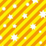 オレンジの斜線と白い星が散らばるパターン