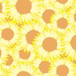 パステル調のヒマワリのイラストを使用したパターン