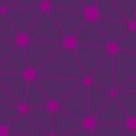 紫のランダムな三角形と円のパターン