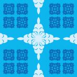 爽やかな水色のハワイアンキルト柄パターン