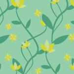 緑ベースの草花イラストパターン