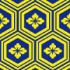紺と黄の亀甲和風柄パターン