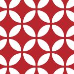 白と臙脂の和風七宝柄パターン