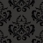 ダークな印象を受ける黒ベースのダマスク西欧柄パターン