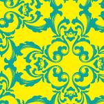インパクトのある配色のダマスク柄パターン