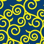 紺と黄色の唐草和柄パターン