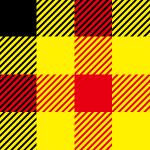 黒・赤・黄色のパンチのあるガンクラブチェックパターン