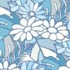 清潔感ある淡いブルーを基調とした草花のイラストパターン