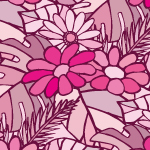 ピンクベースの南国系植物イラストパターン
