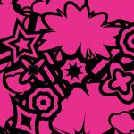 黒とピンクのポップなイラストパターン