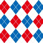 赤・白・青のトリコロールカラーアーガイルチェックパターン