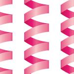 ピンク色のロール状のリボンが並ぶパターン