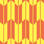 朱色と黄色の矢絣柄パターン