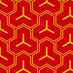 赤と黄色の毘沙門亀甲柄パターン