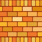 2種類のオレンジ色レンガブロックイラストパターン