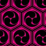 黒とピンクの六角形に収まる亀甲三つ巴のパターン