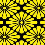 黒と黄色の菊菱柄パターン